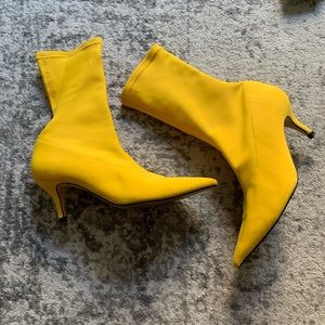 Zara yellow sock booties
